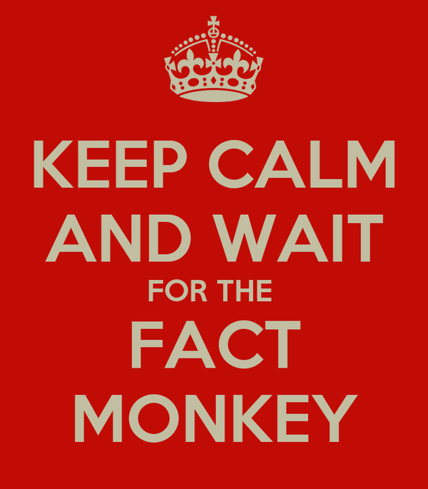 KEEP CALM AND WAIT FOR THE  FACT MONKEY