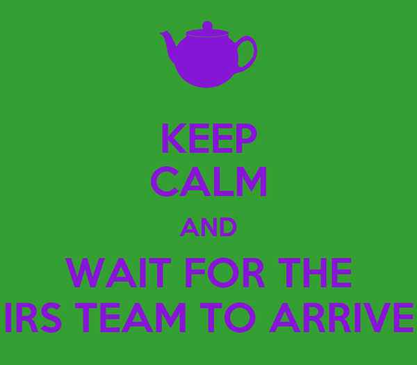 KEEP CALM AND WAIT FOR THE IRS TEAM TO ARRIVE