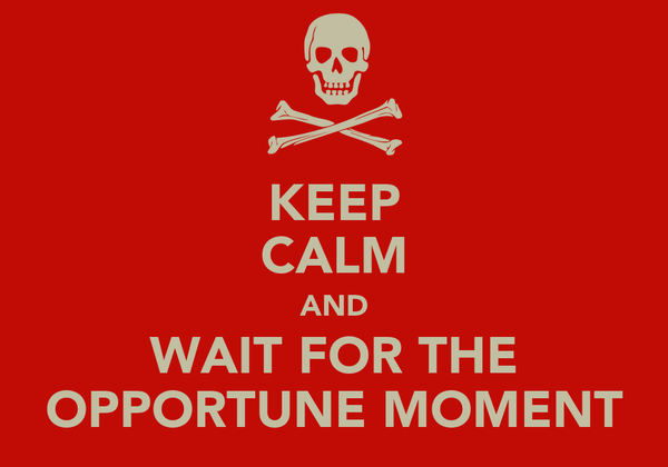 KEEP CALM AND WAIT FOR THE OPPORTUNE MOMENT