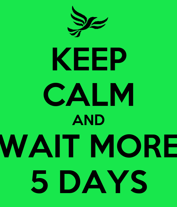 KEEP CALM AND WAIT MORE 5 DAYS