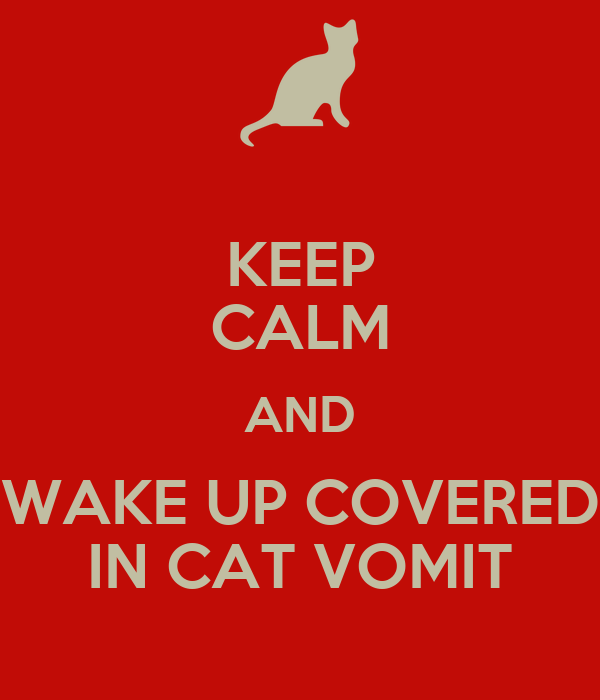 KEEP CALM AND WAKE UP COVERED IN CAT VOMIT