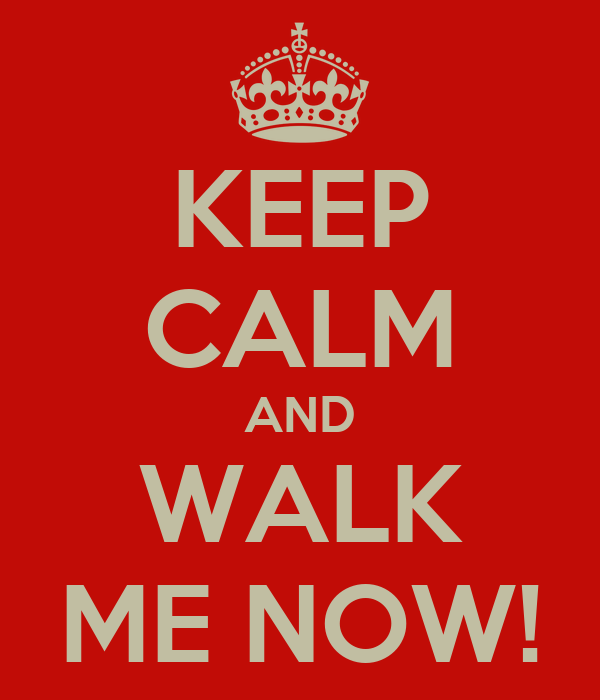 KEEP CALM AND WALK ME NOW!
