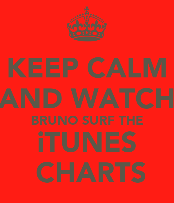 KEEP CALM AND WATCH  BRUNO SURF THE  iTUNES  CHARTS