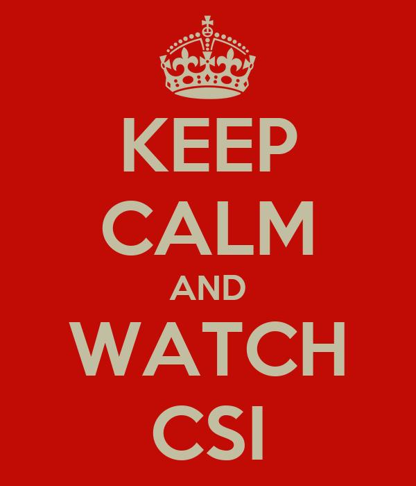 KEEP CALM AND WATCH CSI