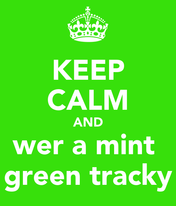 KEEP CALM AND wer a mint  green tracky