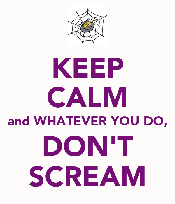 KEEP CALM and WHATEVER YOU DO, DON'T SCREAM
