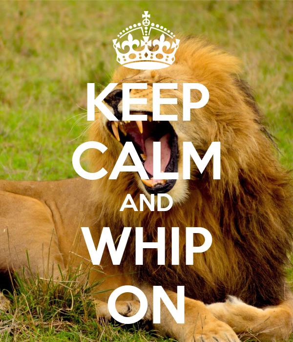 KEEP CALM AND WHIP ON