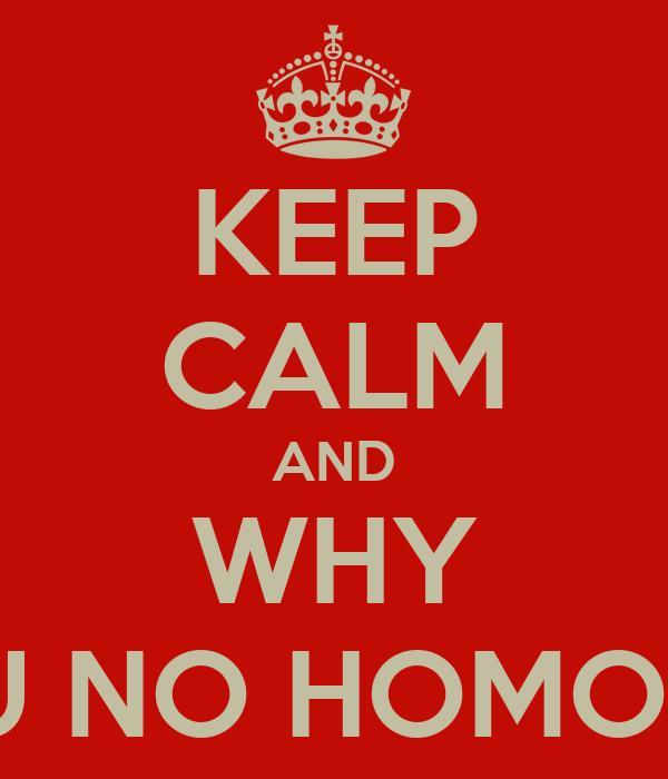 KEEP CALM AND WHY U NO HOMO?