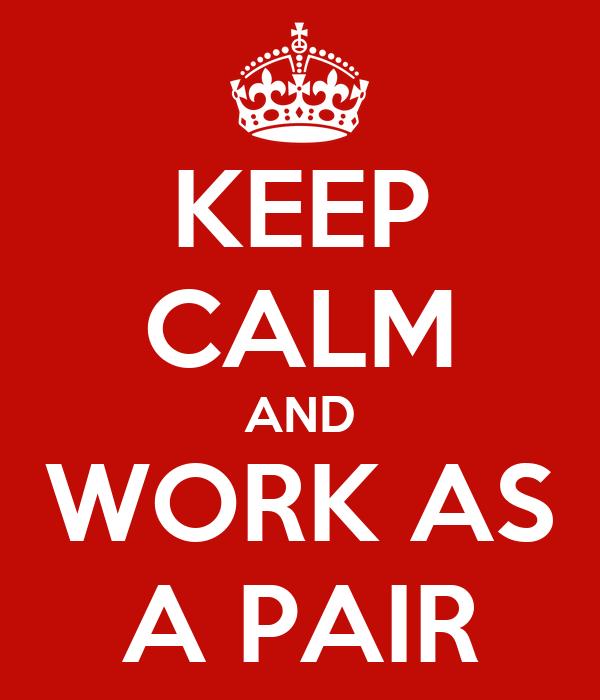 KEEP CALM AND WORK AS A PAIR