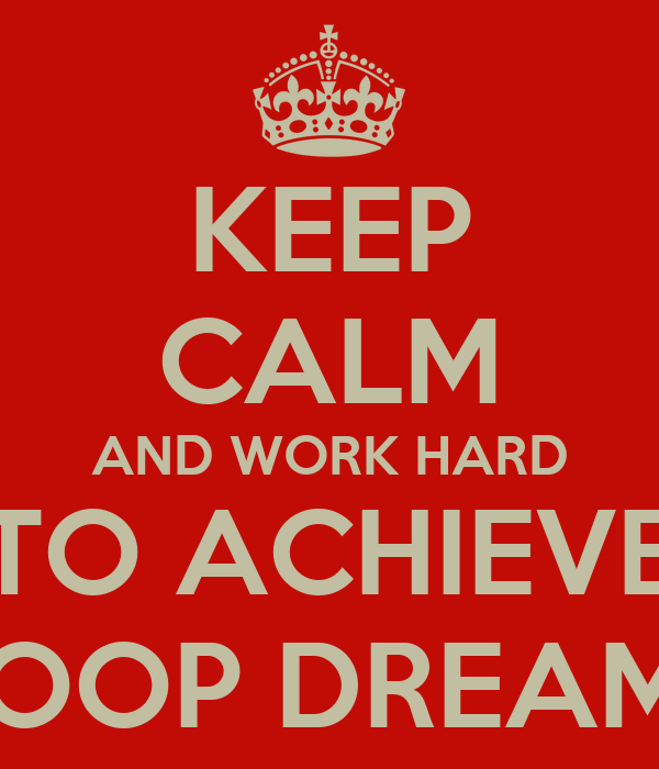 KEEP CALM AND WORK HARD TO ACHIEVE HOOP DREAMS