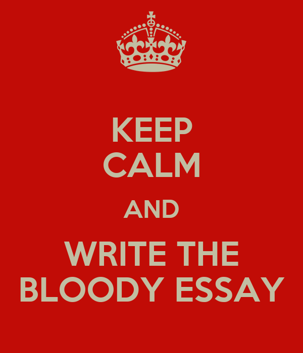 KEEP CALM AND WRITE THE BLOODY ESSAY