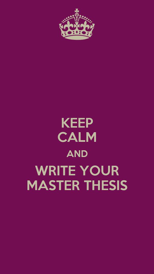 Master thesis write