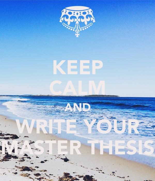 Write a master thesis
