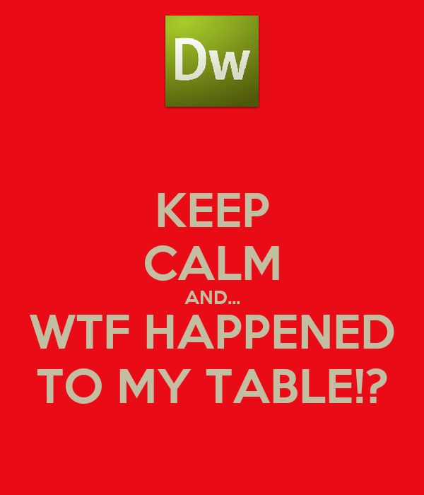 KEEP CALM AND... WTF HAPPENED TO MY TABLE!?