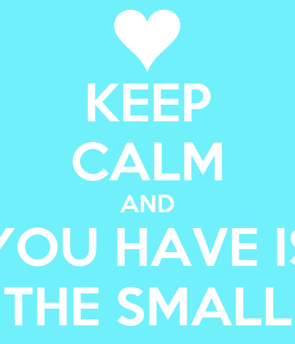 KEEP CALM AND YOU HAVE IS THE SMALL