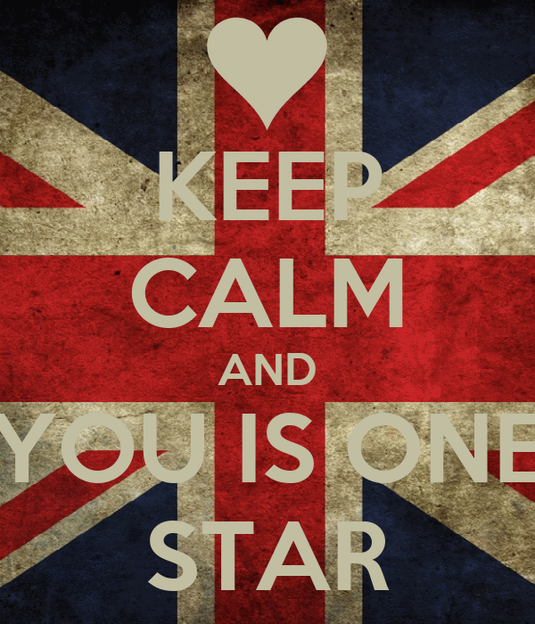 KEEP CALM AND YOU IS ONE STAR