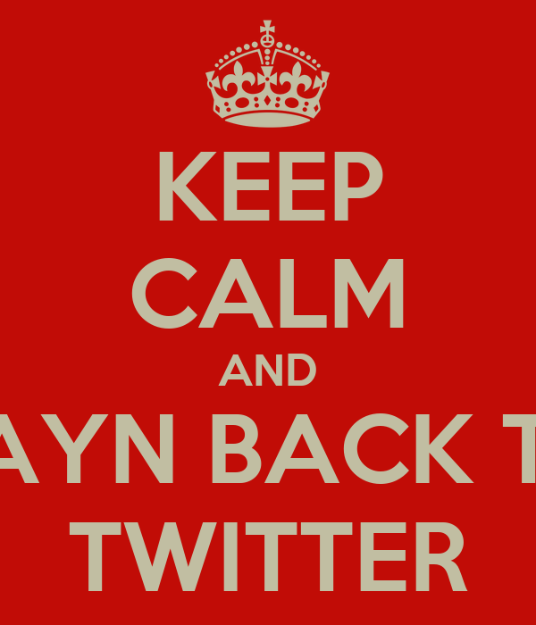 KEEP CALM AND ZAYN BACK TO TWITTER