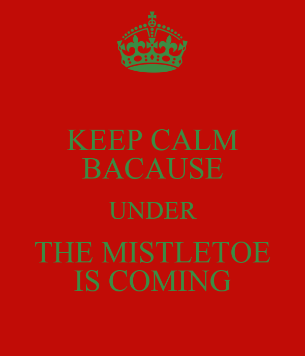 KEEP CALM BACAUSE UNDER THE MISTLETOE IS COMING