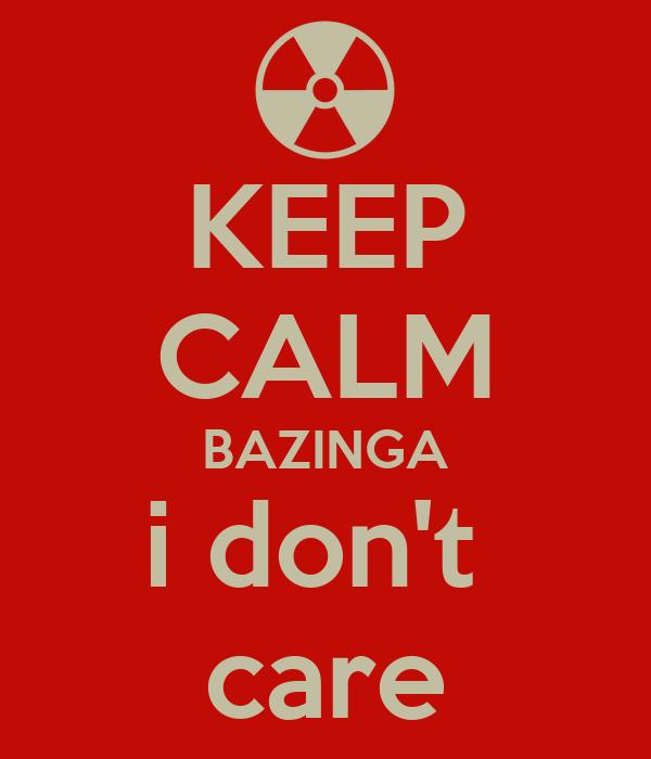 KEEP CALM BAZINGA i don't  care