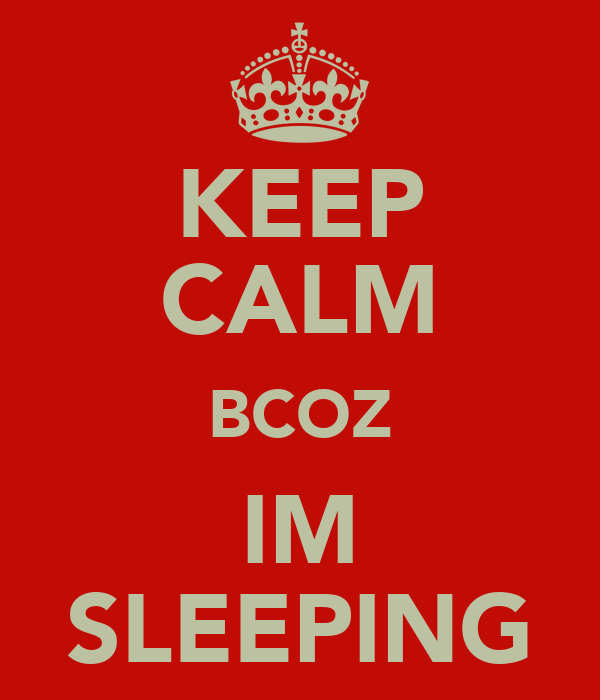 KEEP CALM BCOZ IM SLEEPING