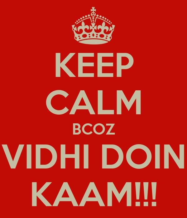 KEEP CALM BCOZ VIDHI DOIN KAAM!!!
