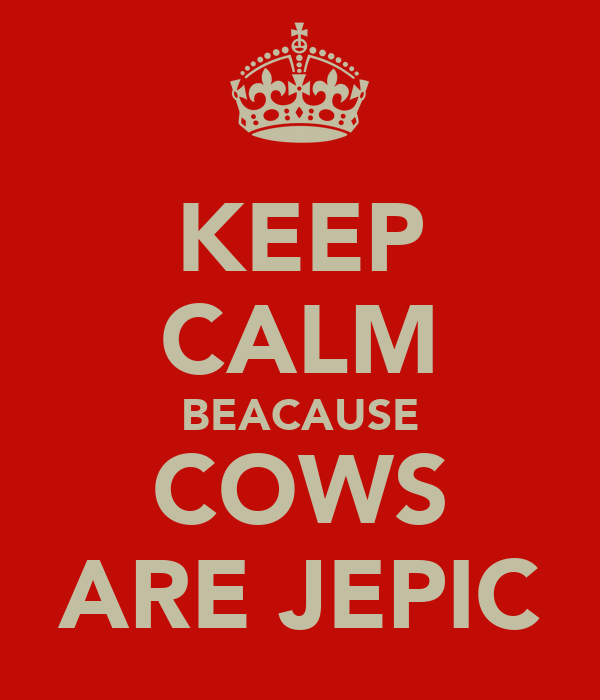 KEEP CALM BEACAUSE COWS ARE JEPIC