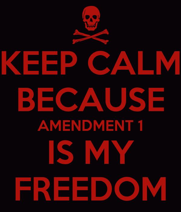 KEEP CALM BECAUSE AMENDMENT 1 IS MY FREEDOM