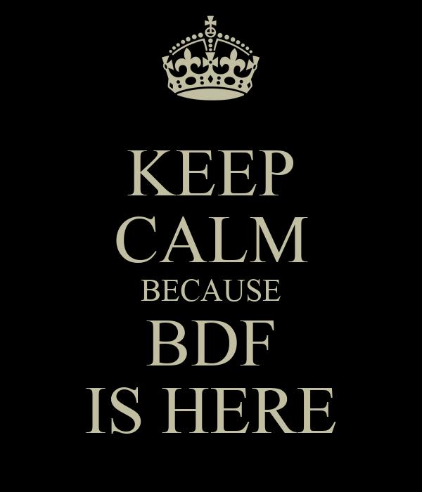 KEEP CALM BECAUSE BDF IS HERE