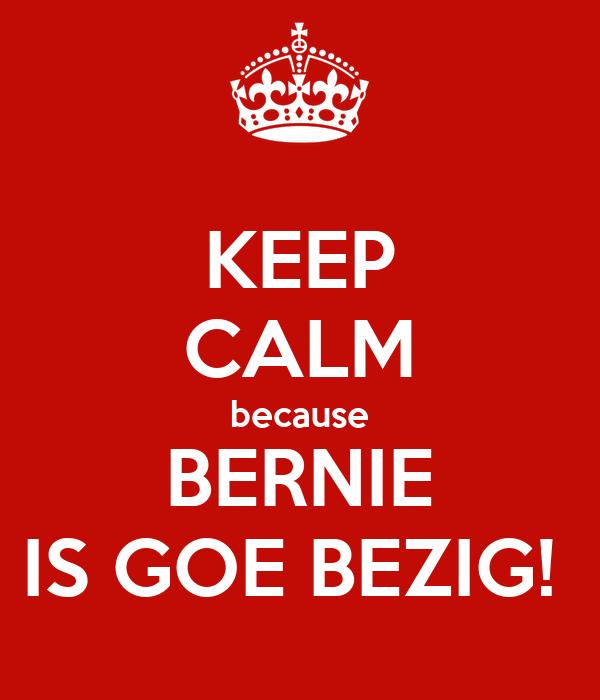 KEEP CALM because BERNIE IS GOE BEZIG!