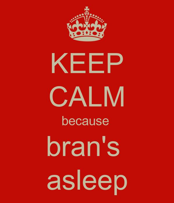 KEEP CALM because  bran's  asleep