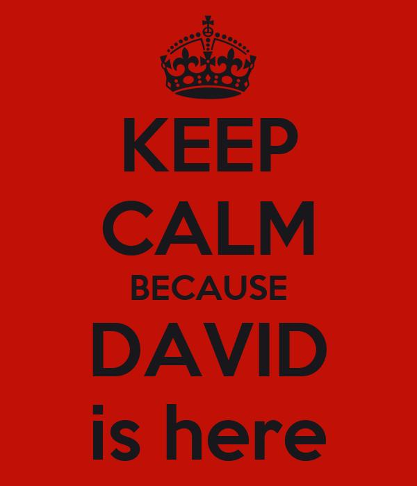 KEEP CALM BECAUSE DAVID is here