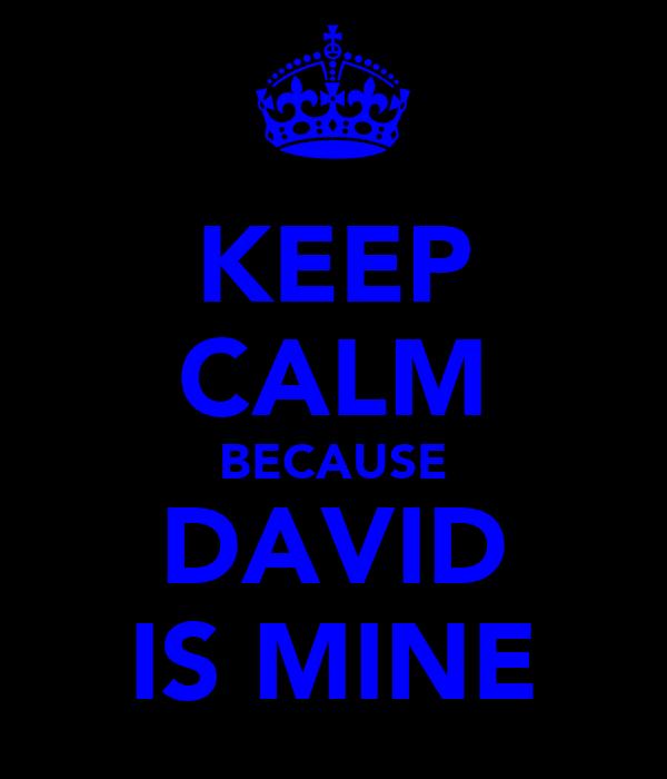 KEEP CALM BECAUSE DAVID IS MINE