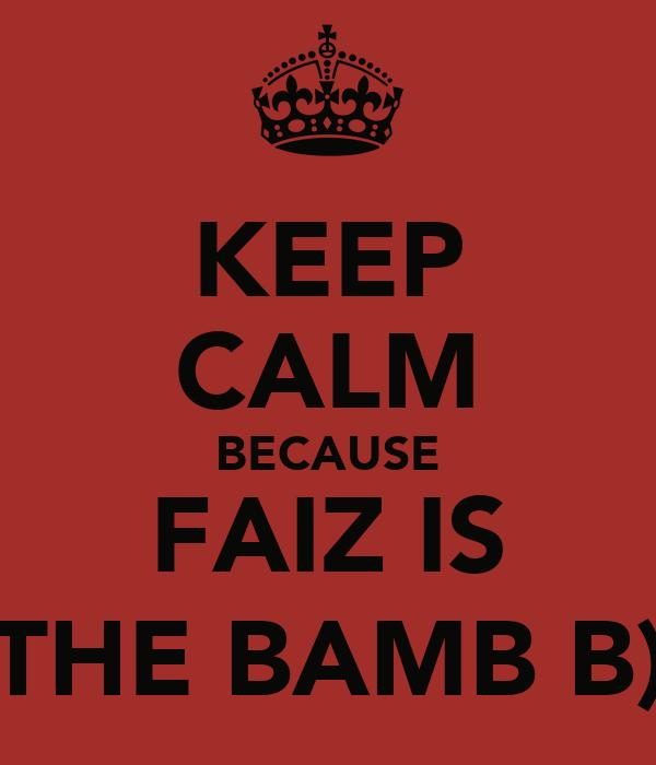 KEEP CALM BECAUSE FAIZ IS THE BAMB B)
