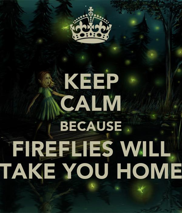 KEEP CALM BECAUSE FIREFLIES WILL TAKE YOU HOME