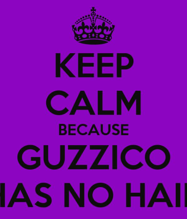 KEEP CALM BECAUSE GUZZICO HAS NO HAIR