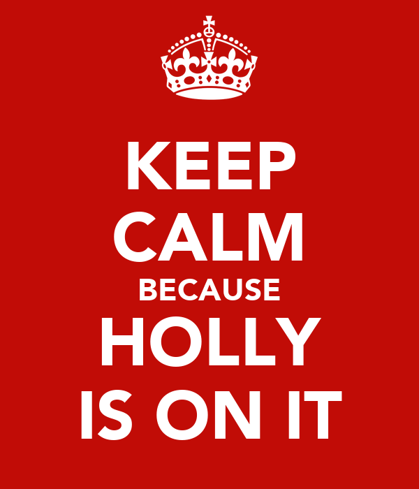 KEEP CALM BECAUSE HOLLY IS ON IT