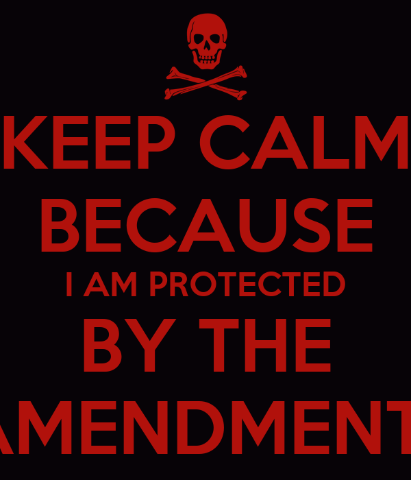 KEEP CALM BECAUSE I AM PROTECTED BY THE AMENDMENT1