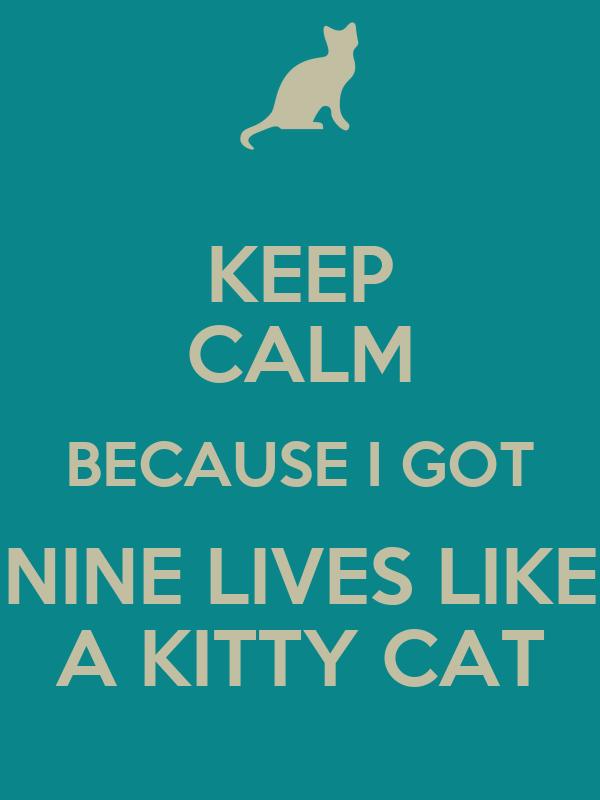 KEEP CALM BECAUSE I GOT NINE LIVES LIKE A KITTY CAT