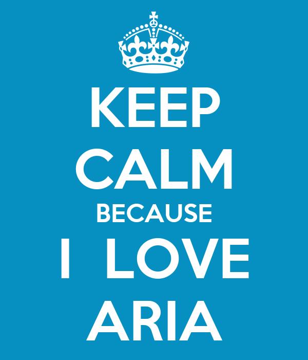 KEEP CALM BECAUSE I  LOVE ARIA