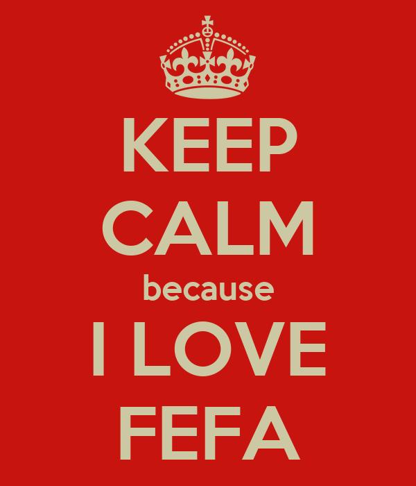 KEEP CALM because I LOVE FEFA
