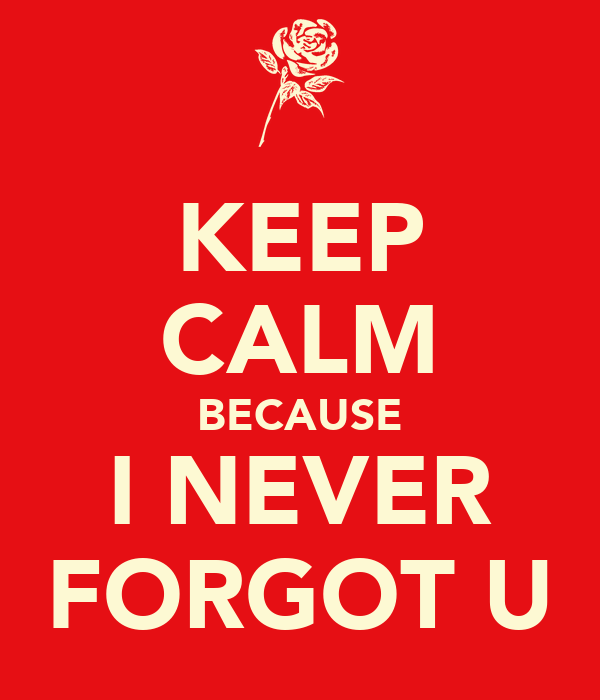 KEEP CALM BECAUSE I NEVER FORGOT U