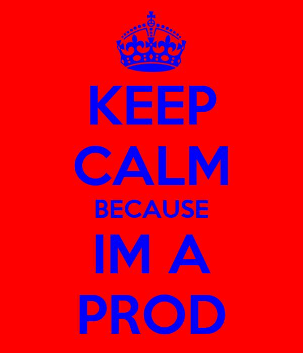 KEEP CALM BECAUSE IM A PROD