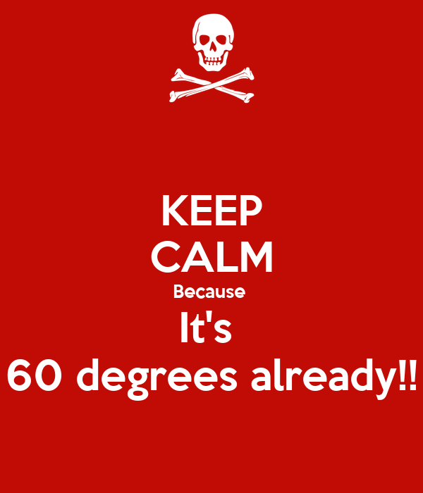 KEEP CALM Because  It's  60 degrees already!!