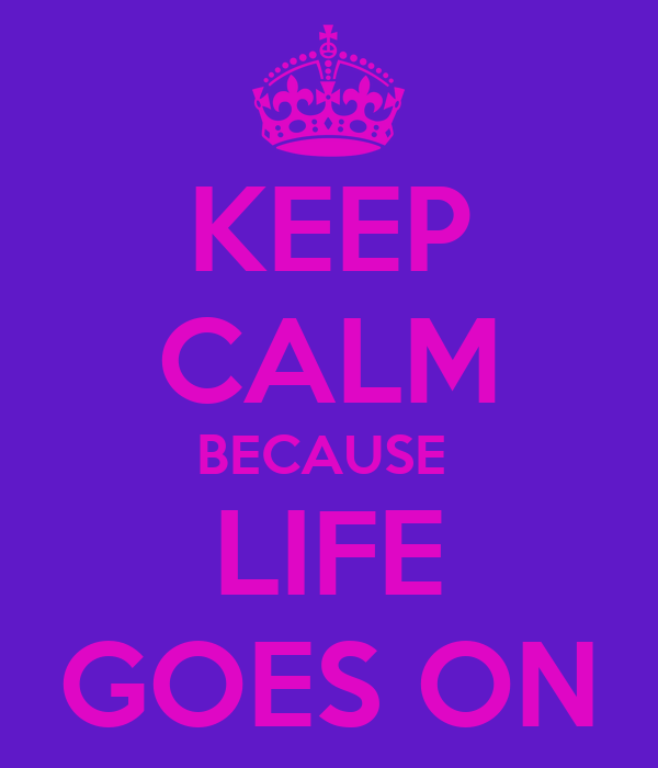 KEEP CALM BECAUSE  LIFE GOES ON