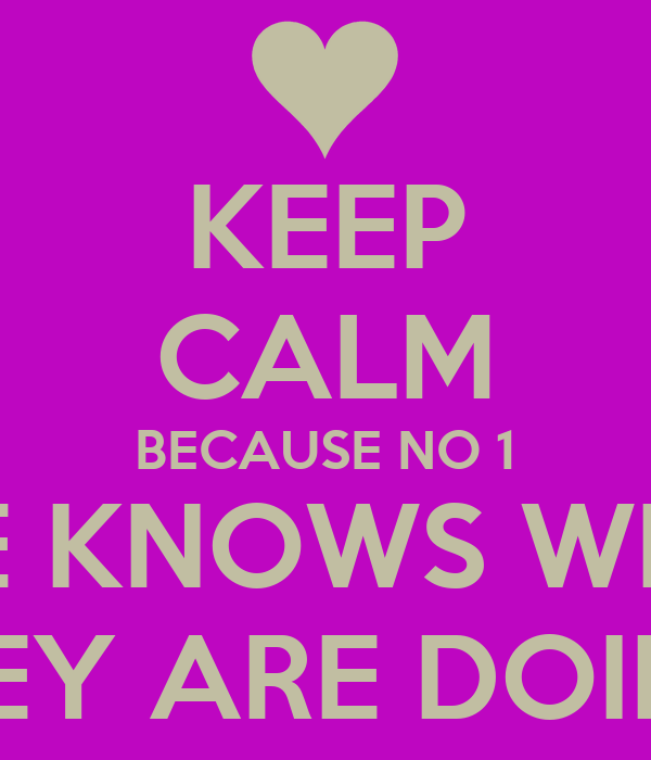 KEEP CALM BECAUSE NO 1 ELSE KNOWS WHAT  THEY ARE DOING