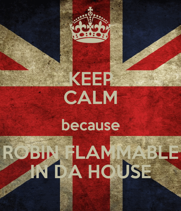 KEEP CALM because ROBIN FLAMMABLE IN DA HOUSE