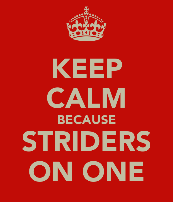 KEEP CALM BECAUSE STRIDERS ON ONE
