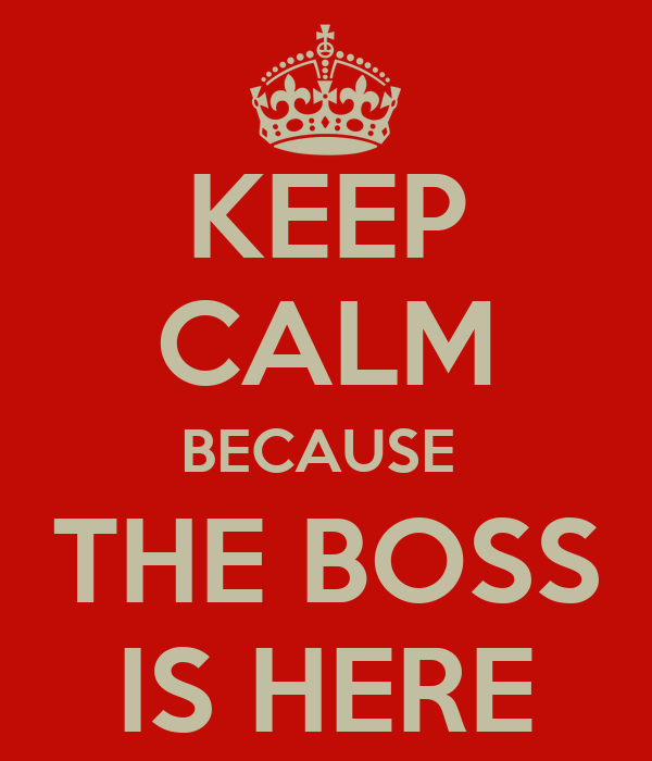 KEEP CALM BECAUSE  THE BOSS IS HERE