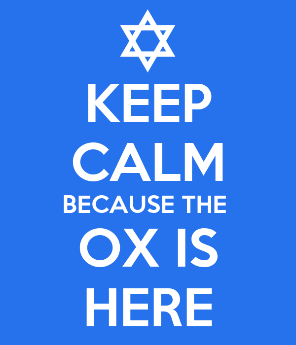 KEEP CALM BECAUSE THE  OX IS HERE