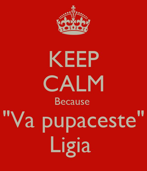 """KEEP CALM Because  """"Va pupaceste"""" Ligia"""